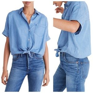 Madewell front tie chambray shirt NWT